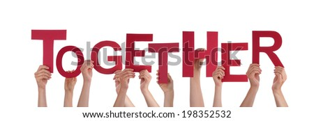 Many Hands Holding the Word Together, Isolated - stock photo