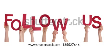 Many Hands Holding the Words Follow Us, Isolated - stock photo