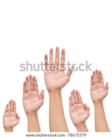Many Hands raise high up on white background - stock photo