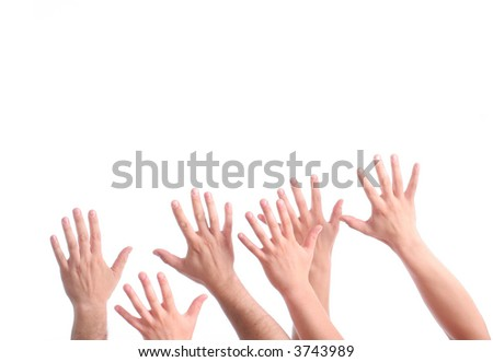 many hands wanting help on white - stock photo
