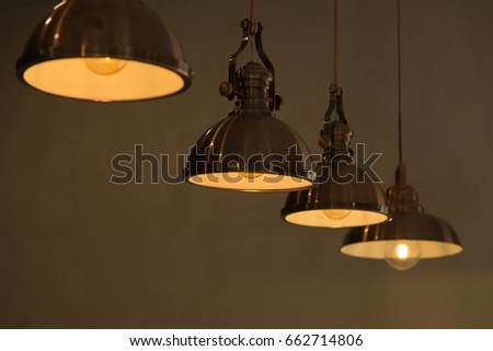 many hanging lamps