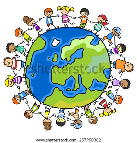 Many happy children standing on a world of peace and holding hands - stock photo
