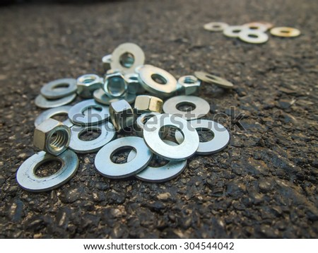 Many Hardwares Are on the Ground at the Construction Site - stock photo
