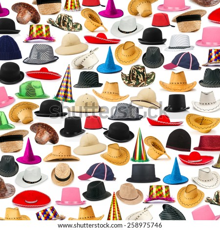 Many hats arranged as background - stock photo