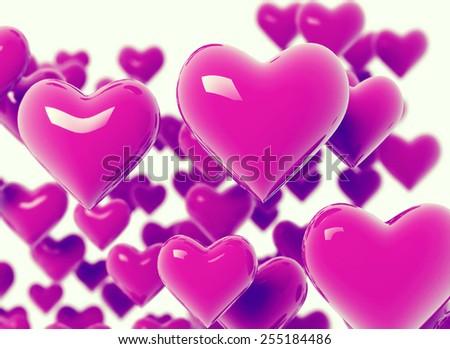 Many hearts. 3d background - stock photo