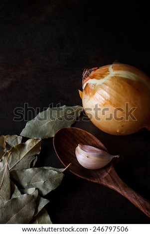 many herbs prepare for cooking, image dark tone style - stock photo