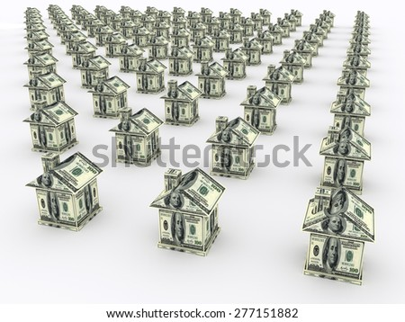 Many houses from the money on white. Business concept - stock photo
