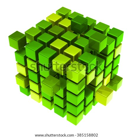 Many hovering 3D cubes as sustainability concept (3D Rendering) - stock photo