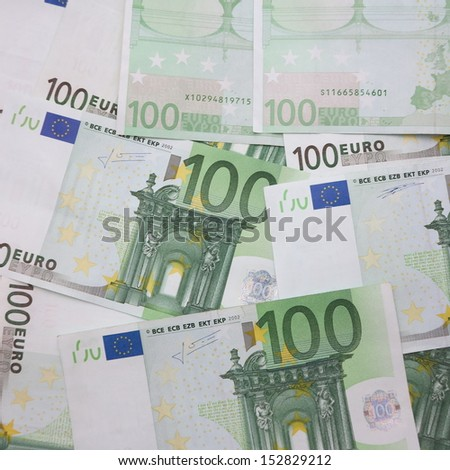 many hundred Euro bank note