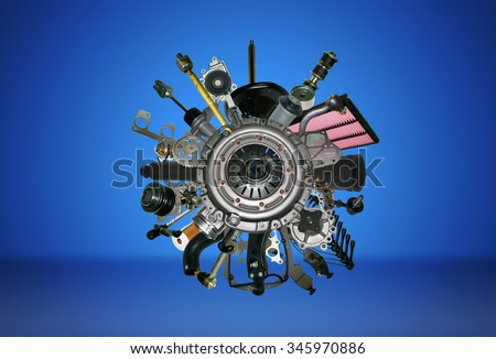 Many images of spare parts for the passenger car. Spare parts for shop, aftermarket, OEM. Spare parts like wheel. New spare parts for shop. Many auto spare parts for car. New auto spare parts. - stock photo