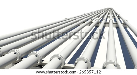 Many industrial pipes stretching into distance. Isolated on white background - stock photo