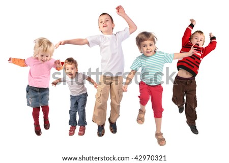 Many jumping children on white - stock photo