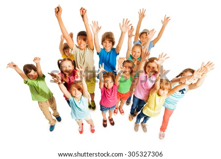 Many kids stand isolated on white in large group - stock photo