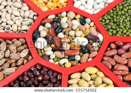 many kind of bean in tray