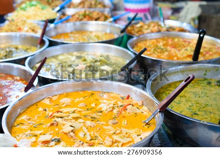 Many kind of Thai food sell in street market , Thailand - stock photo