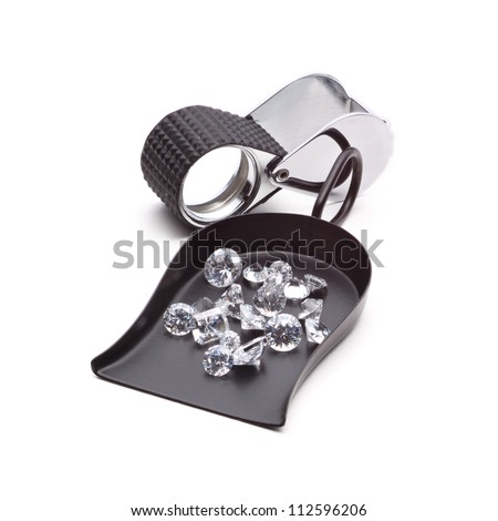 Many kinds of jewelers tools - Shovel Bead scoop with loop Handle, magnifier, tweezers and Diamonds - stock photo
