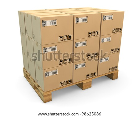 Many labeled transport boxes on a freight pallet - stock photo