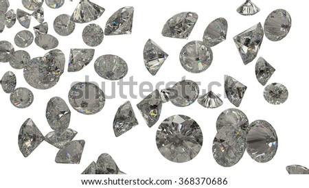 many Large Diamonds and gemstones isolated on white - stock photo