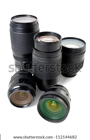 many lenses isolated on white background - stock photo