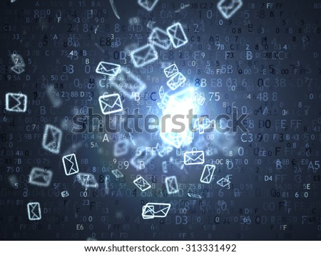 Many letters in the box. Concept SPAM. Many e-mail - stock photo