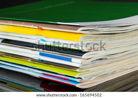 Many magazines close-up