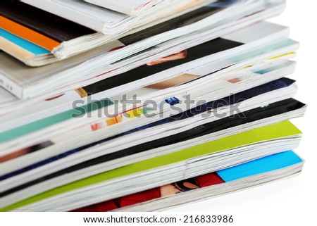 Many magazines close up