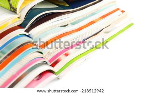 Many magazines close up - stock photo