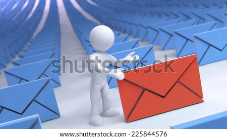 many mail and one different of color with 3d man - stock photo