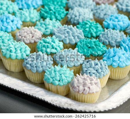Many mini cupcakes with various shades of blue frosting.  - stock photo
