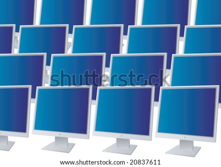Many monitors all in a row with blue screena - stock photo