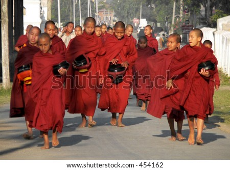 Many Monks Alms Collecting, near Inle Lake, Myanmar (Burma)
