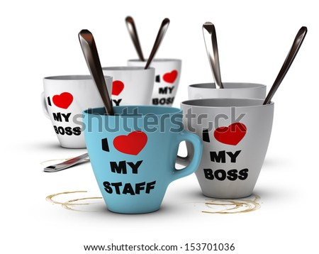 Many mugs where it is written I love my staff and my boss, symbol of staff relations and motivation in workplace. - stock photo