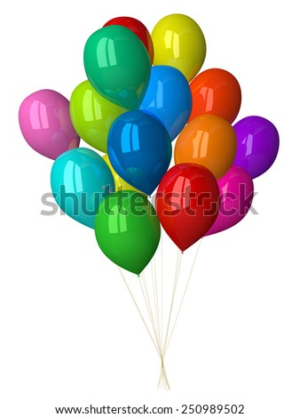 Many multicolor glossy balloons isolated on white - stock photo