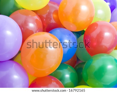 Many multicolored balloons background - stock photo