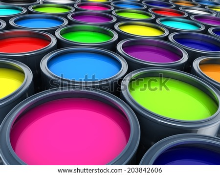 Many multicolored paint  (done in 3d)     - stock photo