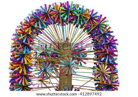 Many multicolored toy windmills on sale in market, India - stock photo