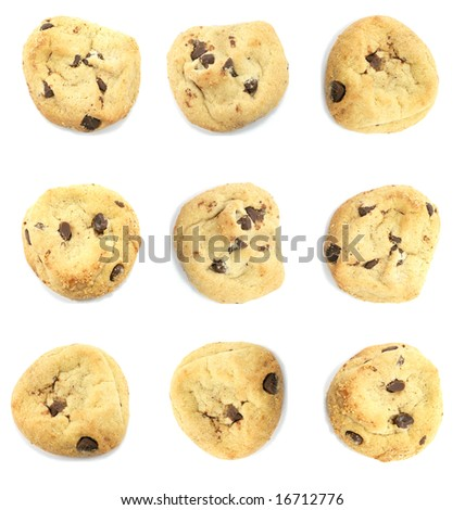 Many Neatly Arranged Cookies Isolated on a White Background - stock photo