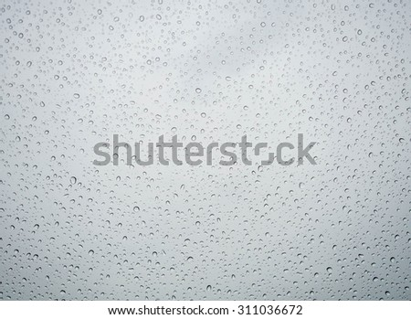 Many of raindrops stuck on the windshield background,Abstract of raindrops on the mirror. - stock photo