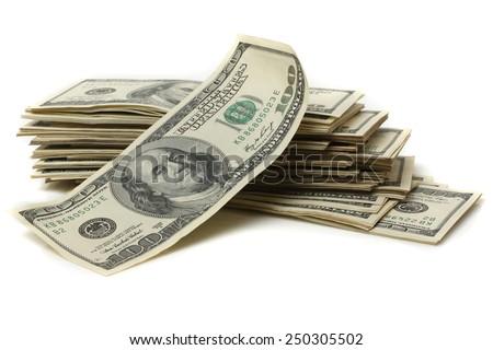 Many of US 100 dollars bank notes isolated on white background - stock photo