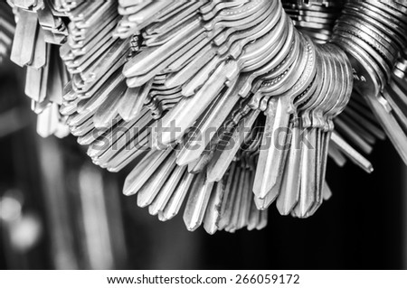 Many old keys -  Security and encryption, concept image black and white - stock photo