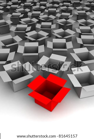 Many open boxes. 3d illustration