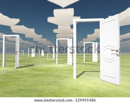 Many open doors with directional arrow clouds - stock photo