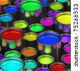 Many paint buckets with various colored paint - stock photo
