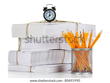 many papers and pencils isolated on white - stock photo