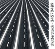 Many parallel roads towards infinity - stock photo