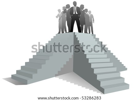 Many paths to success as a business team leader stands atop stairs.