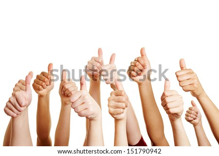 Many people congratulate a winner and holding their thumbs up - stock photo