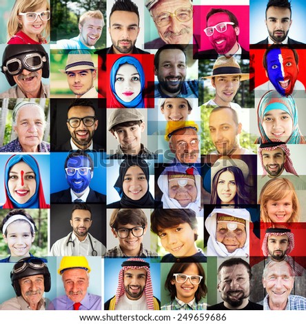 Many people faces - stock photo