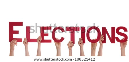 Many People Holding the Red Word Elections, Isolated - stock photo