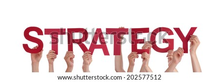Many People Holding the Red Word Strategy, Isolated - stock photo